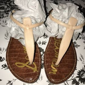 Sam Edelman Gigi Nude Flat T-Strap Sandal